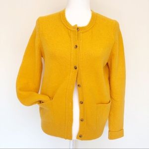 LOFT Yellow Chunky Button Grandpa Cardigan | 3101